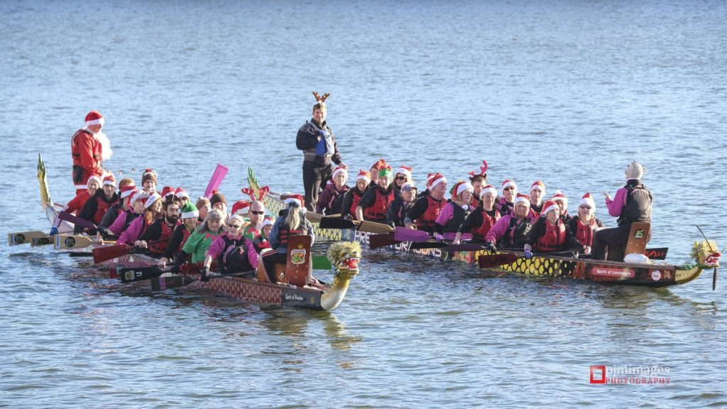 Preston Dragons, Pool of Life, and Padders for Life, on a Christmas Paddle in 2018